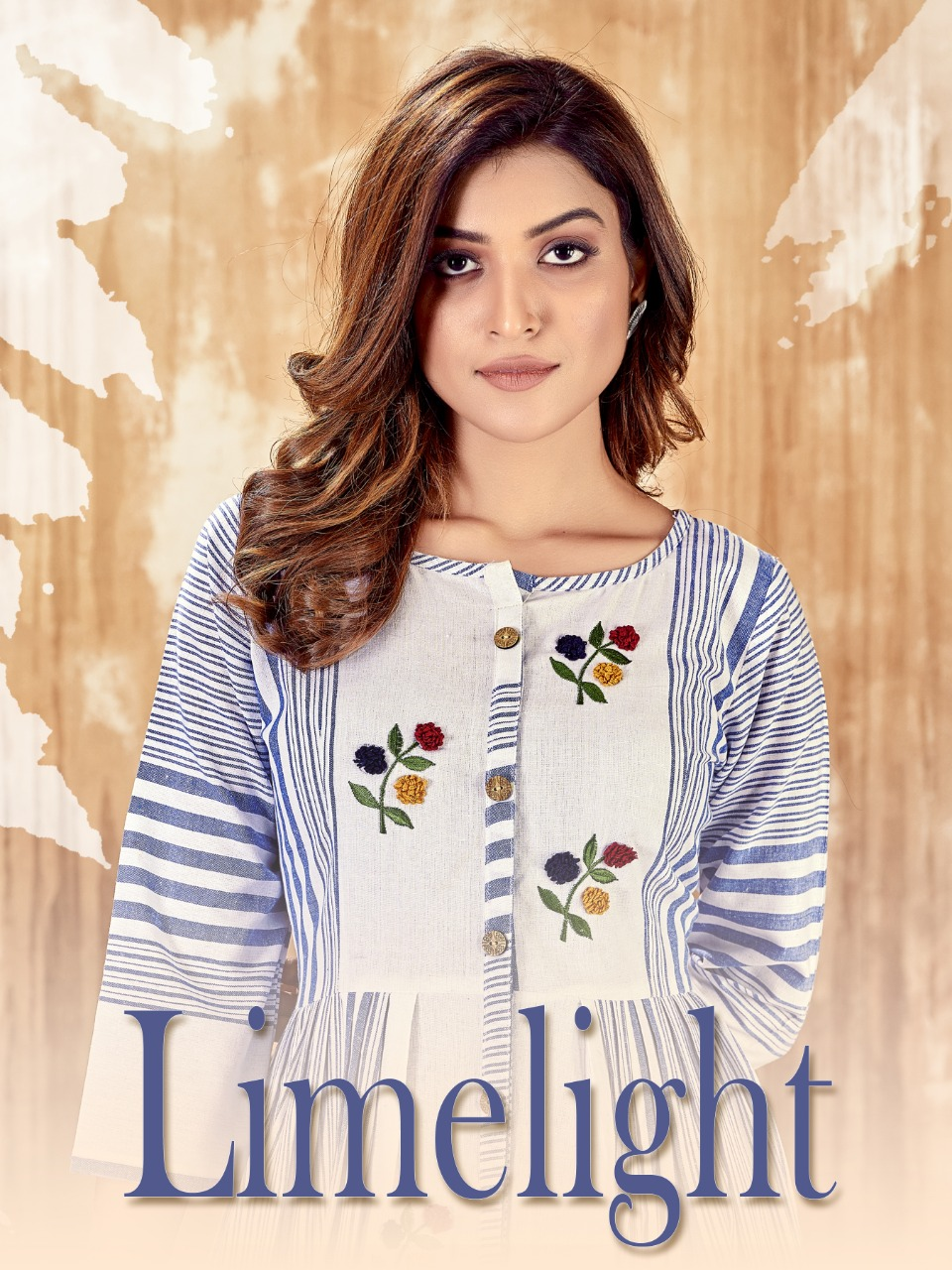 Cotton With Hand Embroidery Designer Kurtis Limelight At Wholesale Rates