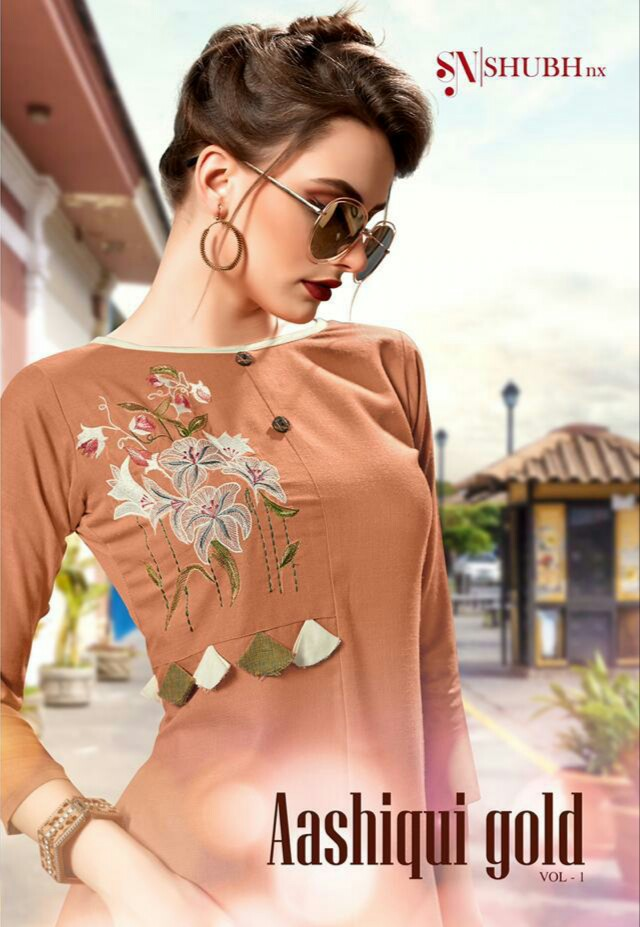 Shubh Nx Aashique Gold Vol 1 Rooby Embroidered Readymade Kurtis At Wholesale Rate