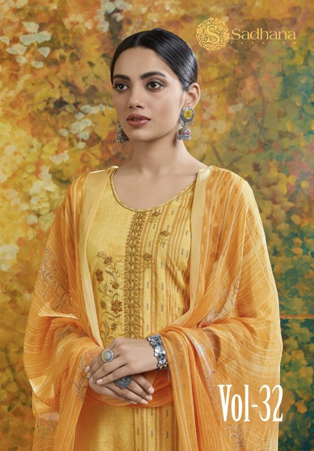 Pure Cotton With Work Dress Materials Shadhna Vol 32