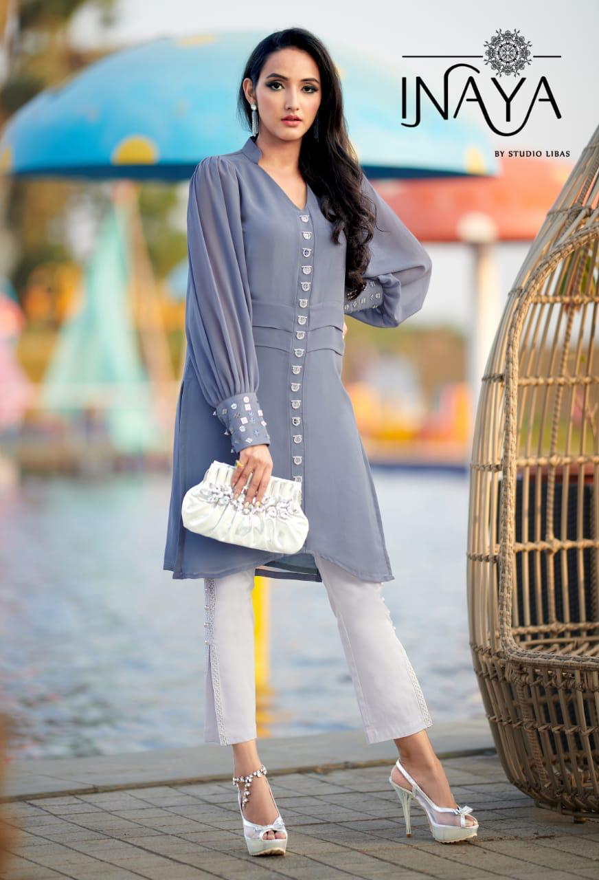 Inaya Designer Georgette With Embroidery Work Readymade Kurtis With Pants At Wholesale Rate