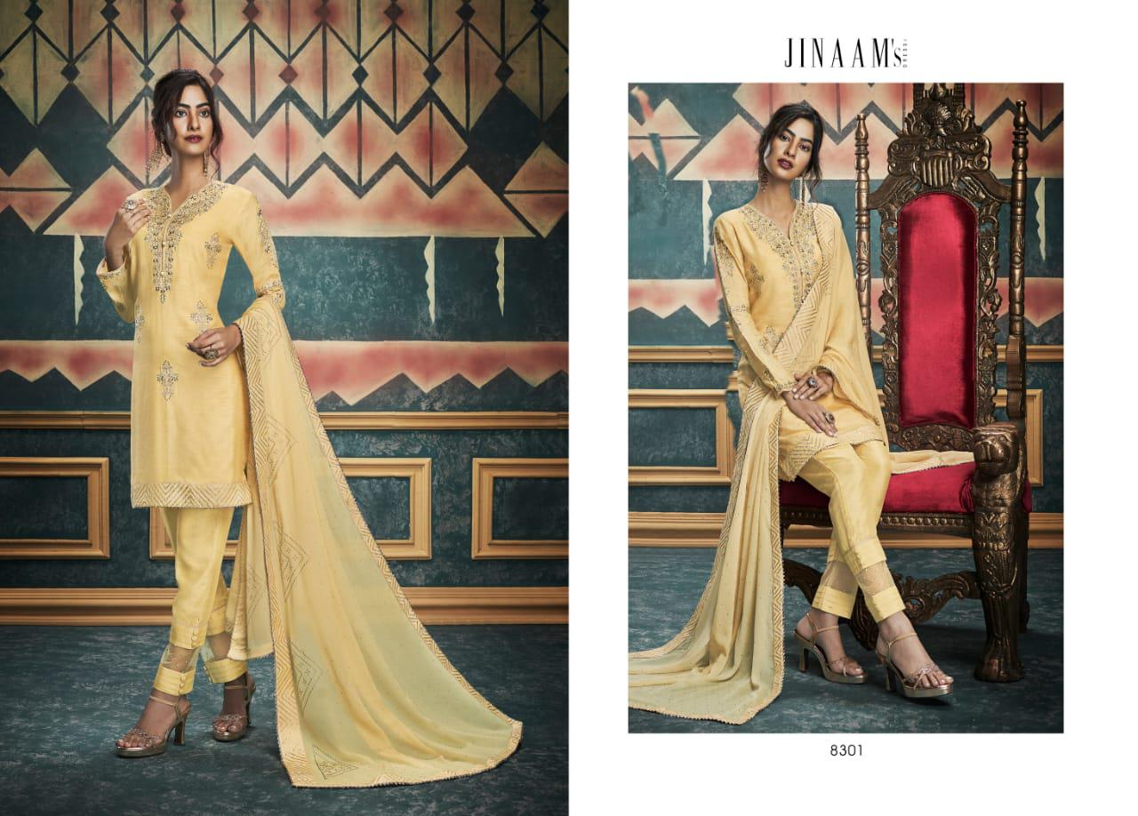Jinaam's Dress Alisha Russian Silk With Embroidery Work Dress Material Collection At Wholesale Rate