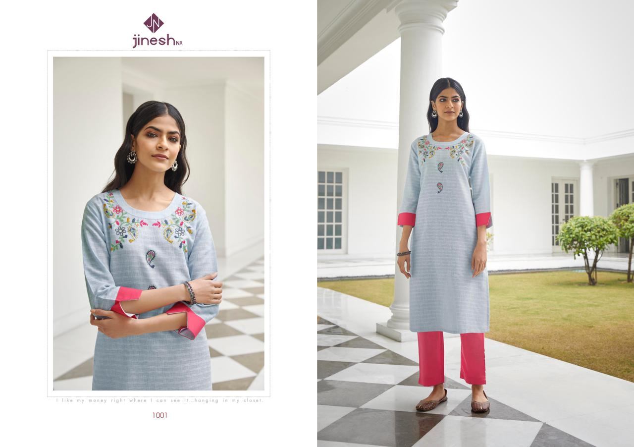 Jinesh Nx Wilson Cotton Strip Wit Hand Work Regular Wear Kurtis With Bottom Collection At Wholesale Rate