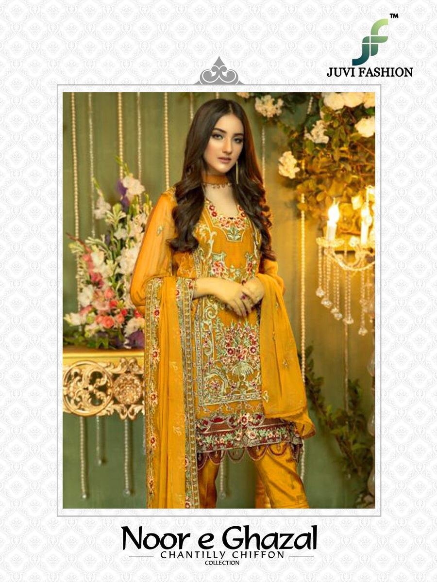 Juvi Fashion Noor E Gazal Faux Georgette With Heavy Embroidery Work Pakistani Suits Collection