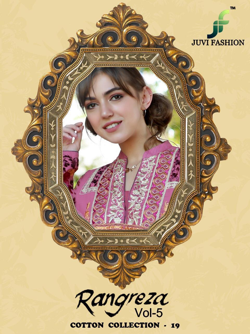 Juvi Fashion Rangreza Vol 5 Printed Cambric Cotton With Embroidery Work Pakistani Suits Collection