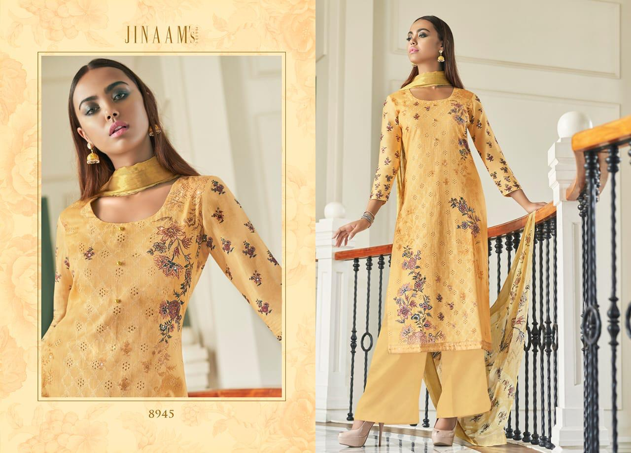 Jinaam's Dress Afsana Designer Digital Printed Cotton Satin With Embroidery Work Dress Material At Wholesale Rate