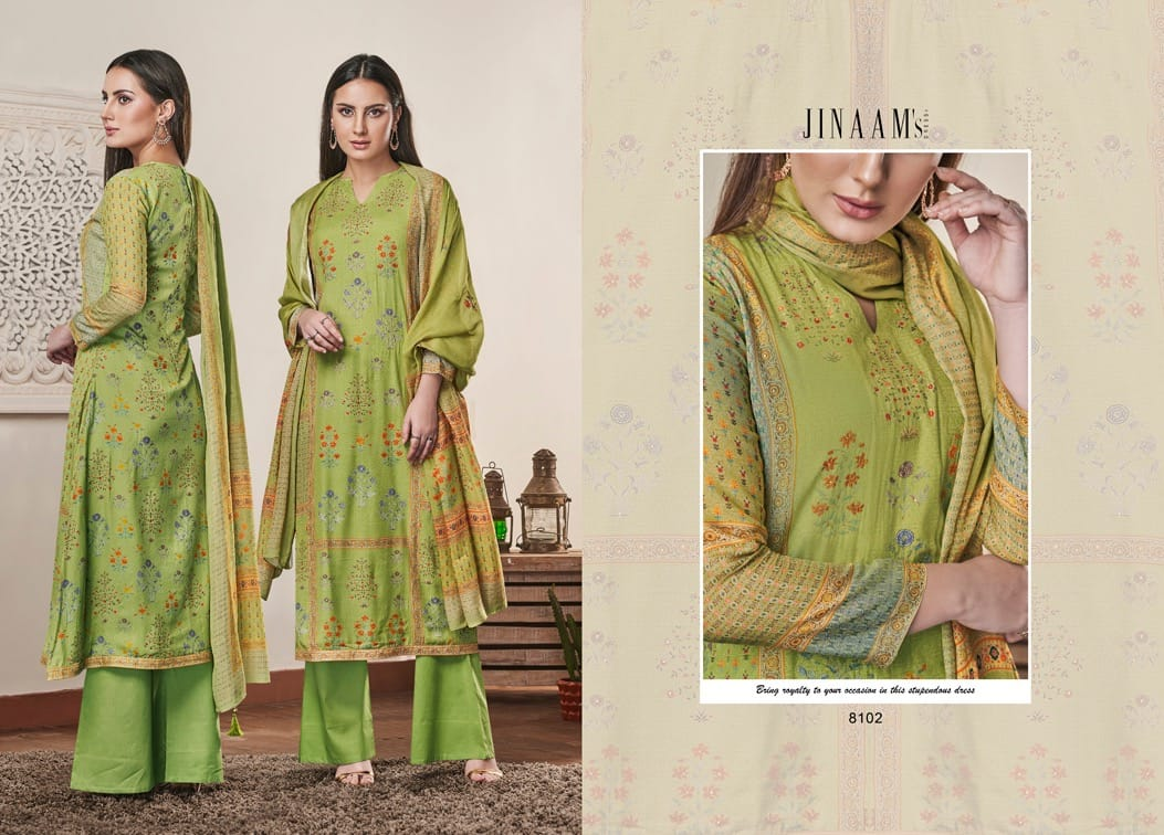 Jinaam Anaita Cotton Silk With Stone Work Dress Material At Wholesale Rate