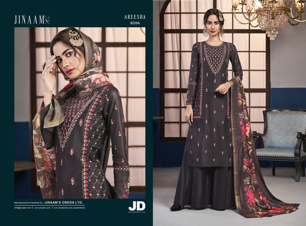 Jinaam's Dress Areesha Designer Dola Silk With Embroidery Work Dress Material Collection At Wholesale Rate