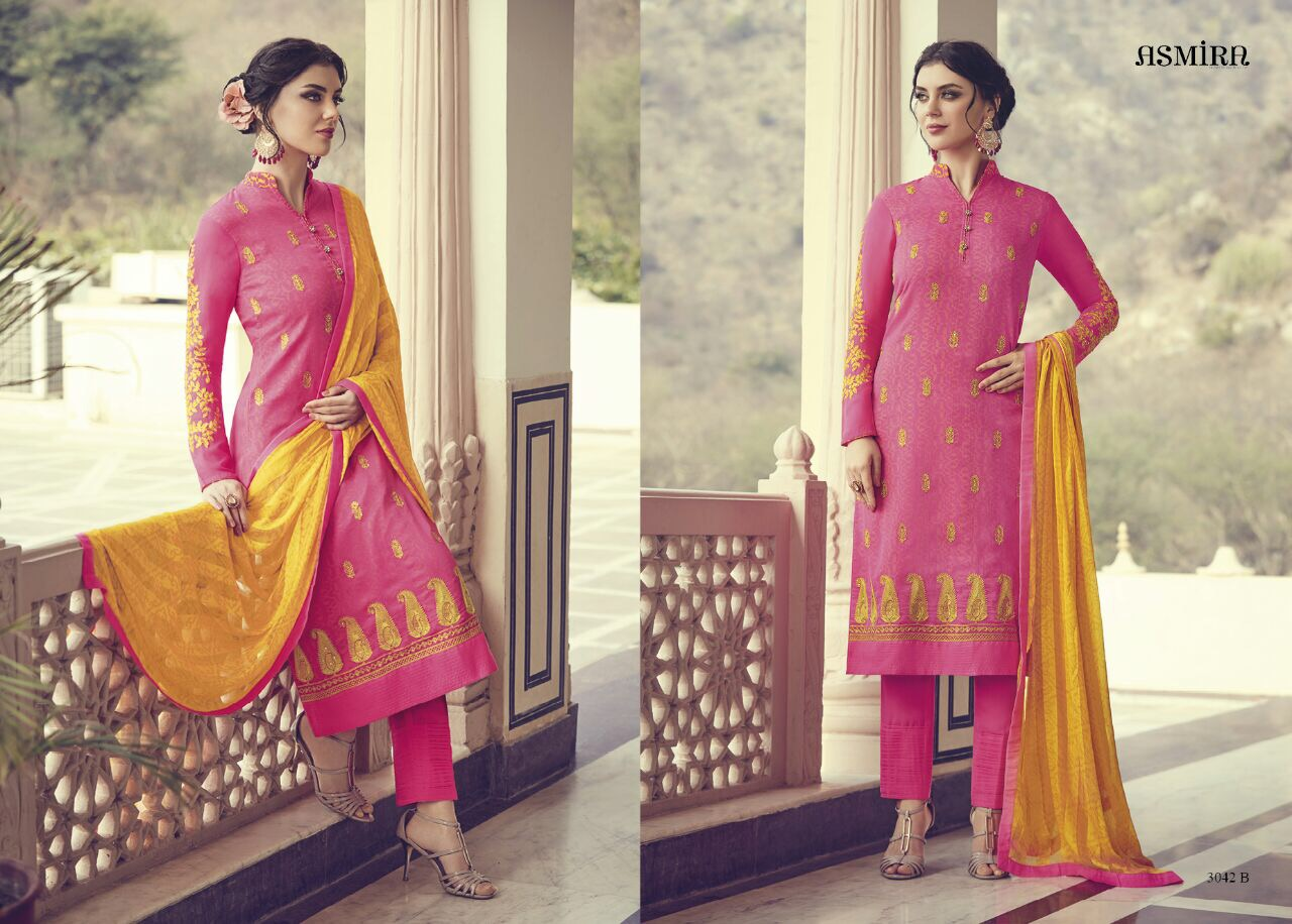 Jinaam's Dress Asmira Bliss Printed Georgette With Embroidery Work Dress Material At Wholesale Rate