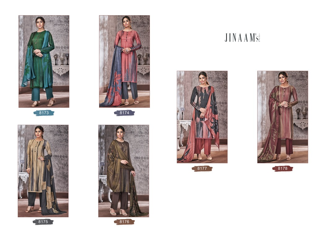 Jinaam's Dress Emery Digital Printed Pashmina With Thread Embroidery Work Dress Material At Wholesale Rate