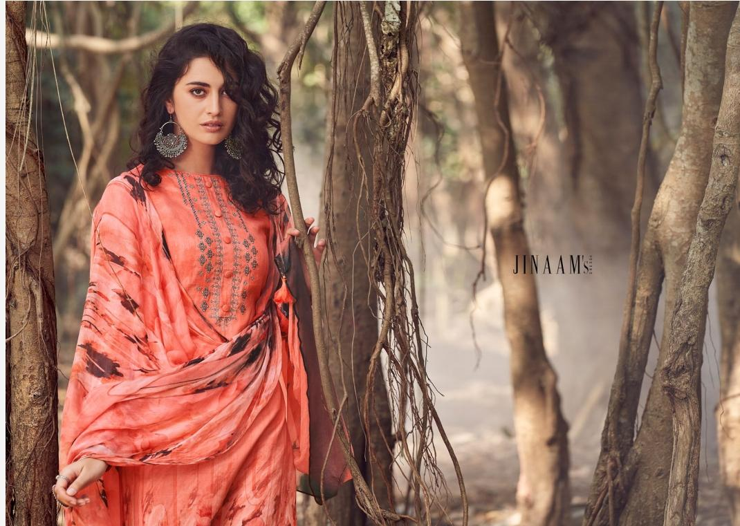 Jinaam Mirza Digital Printed Cotton Satin With Neck Embroidery Work Dress Material At Wholesale Rate