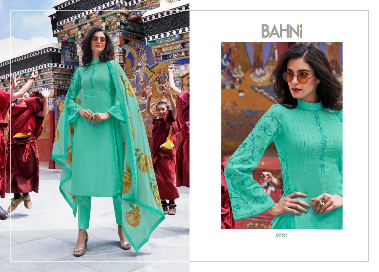 Jinaam's Dress Bahni Sabiya Printed Lawn Cotton With Work Dress Material At Wholesale Rate