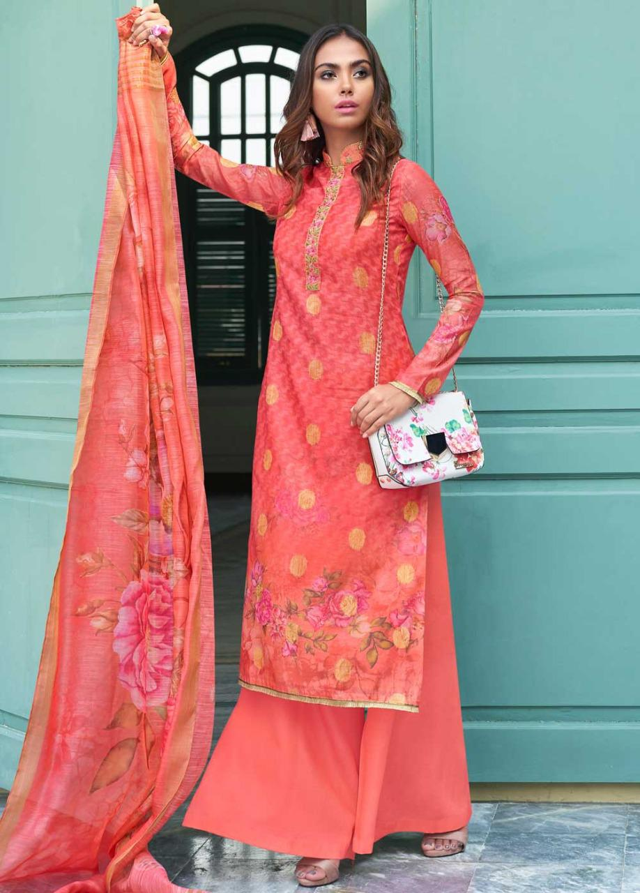 Jinaam's Dress Nazia Digital Printed Chanderi Jacquard With Embroidery Work Dress Material At Wholesale Rate