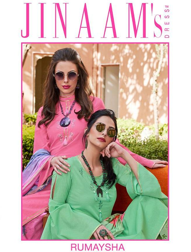 Jinaam's Dress Rumaysha Printed Lawn Cotton With Embroidery Work Dress Material At Wholesale Rate