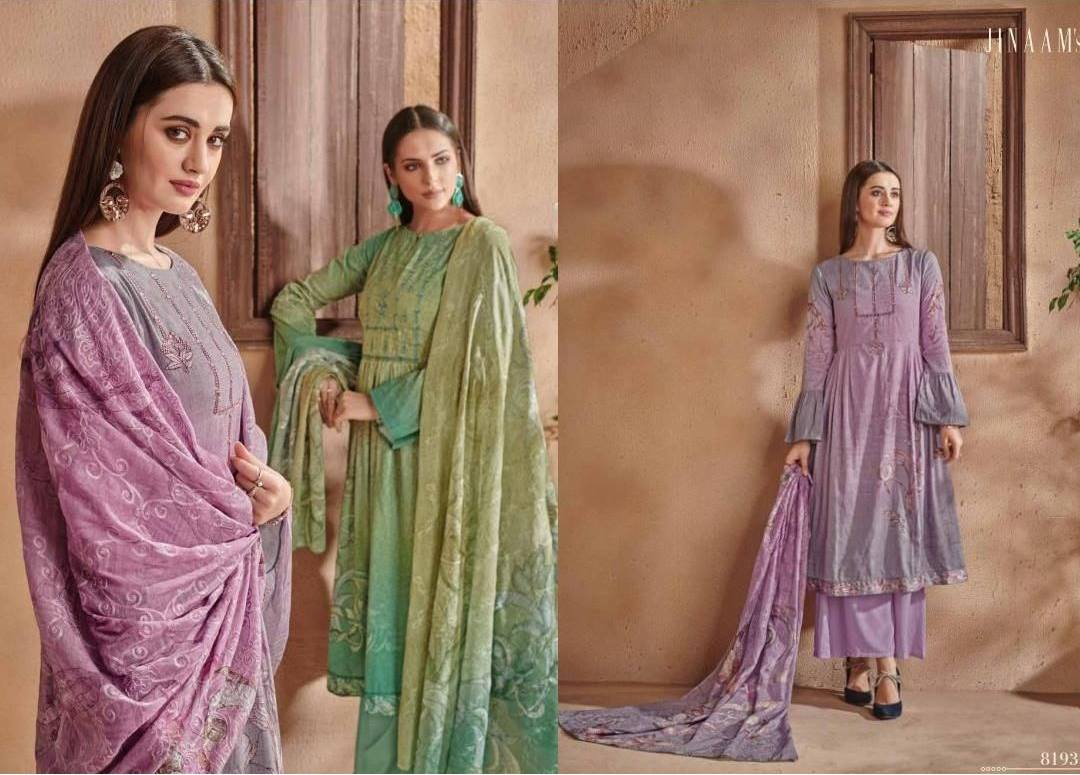 Jinaam Shayla Digital Printed Cotton Satin With Embroidered Semi-stich Dress Material At Wholesale Rate
