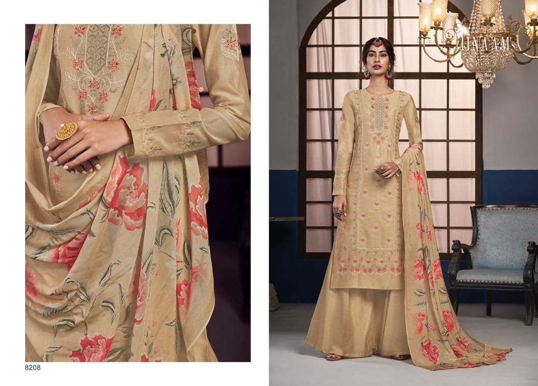 Jinnam Dress Areesha Dolla Silk Embroidery With Stone Work Dress Material At Wholesale Rate