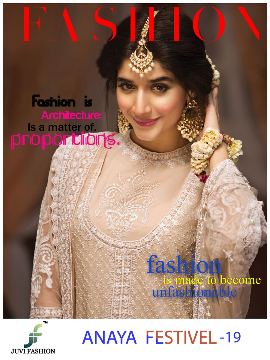 Juvi Fashion Anaya Festival 19 Faux Georgette With Embroidery Work Pakistani Suits Collection Surat