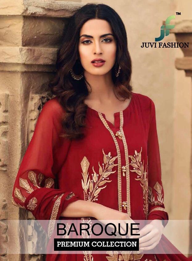 Juvi Fashion Baroque Premium Collection Faux Georgette With Heavy Embroidery Work Pakistani Suits
