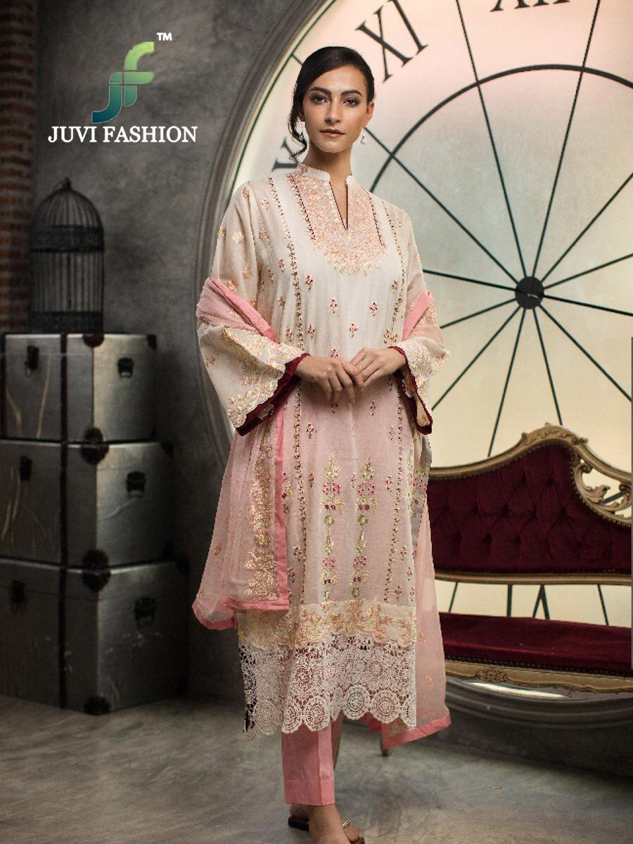 Juvi Fashion Crimson Printed Cambric Cotton With Self Embroidery Pakistani Suits Collection Surat