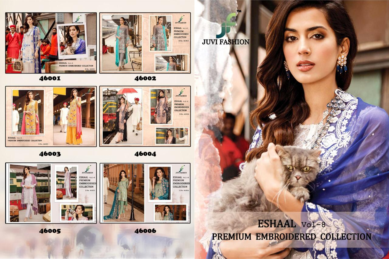 Juvi Fashion Eshaal Vol 8 Faux Georgette With Heavy Embroidery Work Pakistani Suits Collection Surat
