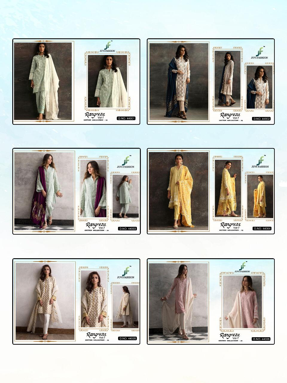 Juvi Fashion Rangreza Vol 7 Cambric Cotton With Embroidery Work Pakistani Suits Collection At Wholesale Rate