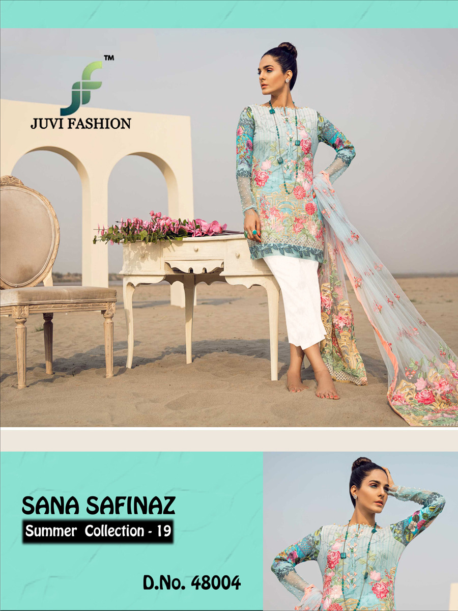 Juvi Fashion Sana Safinaz Summer Collection 19 Cotton With Digital Print And Embroidery Work Pakistani Dress Material Dealer