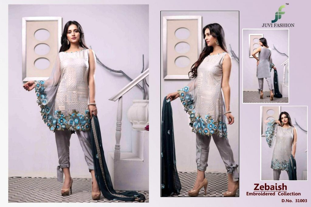Juvi Fashion Zebaish Designer Faux Georgette With Heavy Embroidery Work Pakistani Dress Material Collection