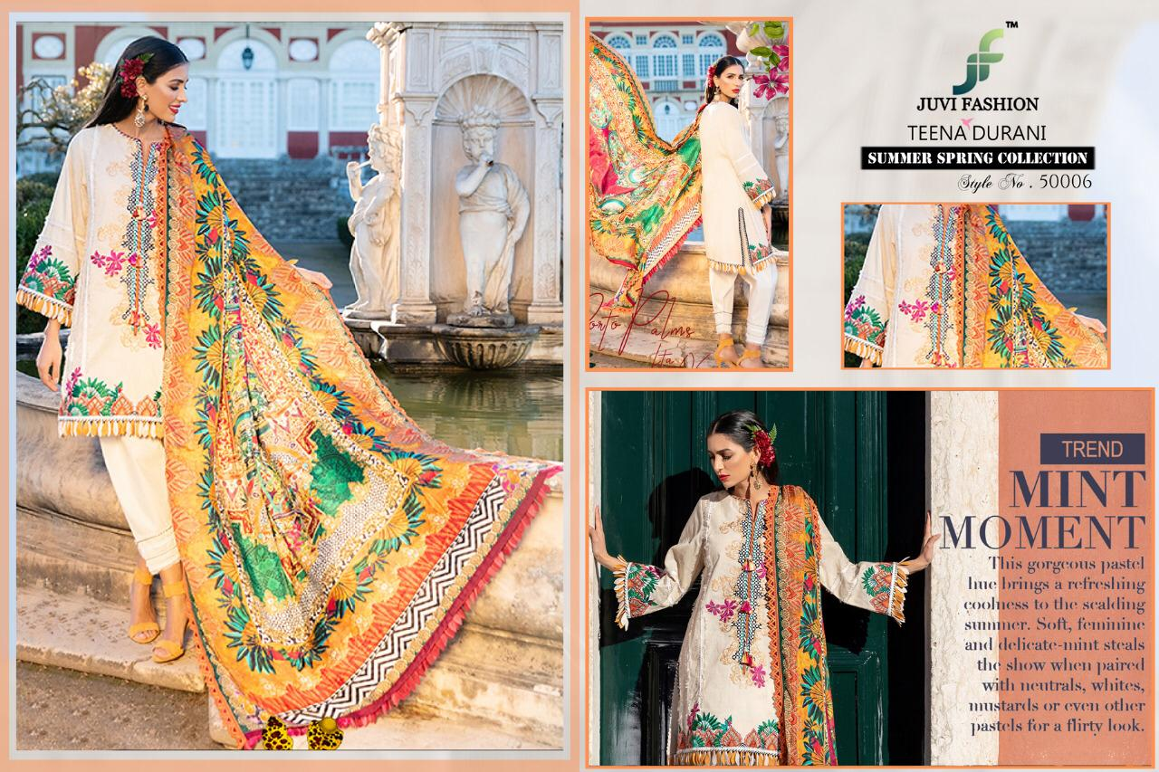 Juvi Fashion Teena Burani Summer Spring Collection Printed Cambric Cotton With Work Pakistani Suits
