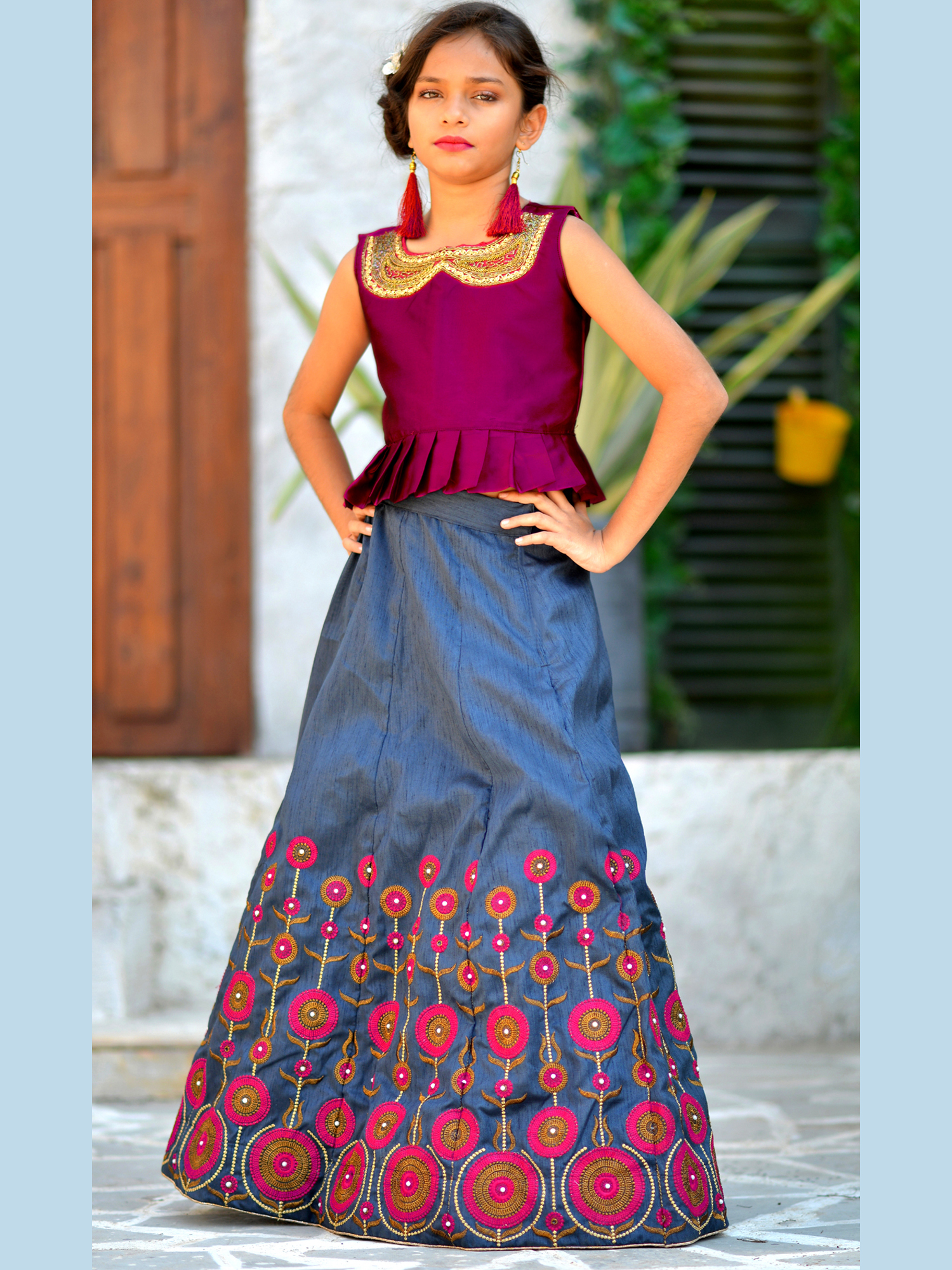 Silk Base Kids Designer Lehenga And Gown Collection