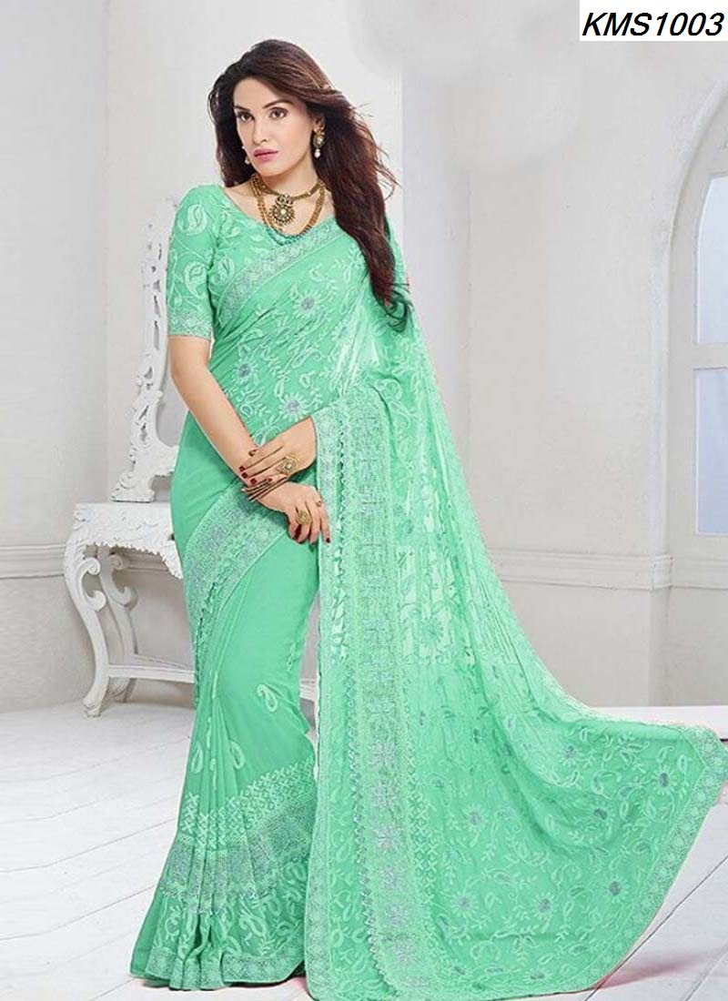 Pure Chiffon Sarees With Resham Embroidery Work At Wholesale Rates