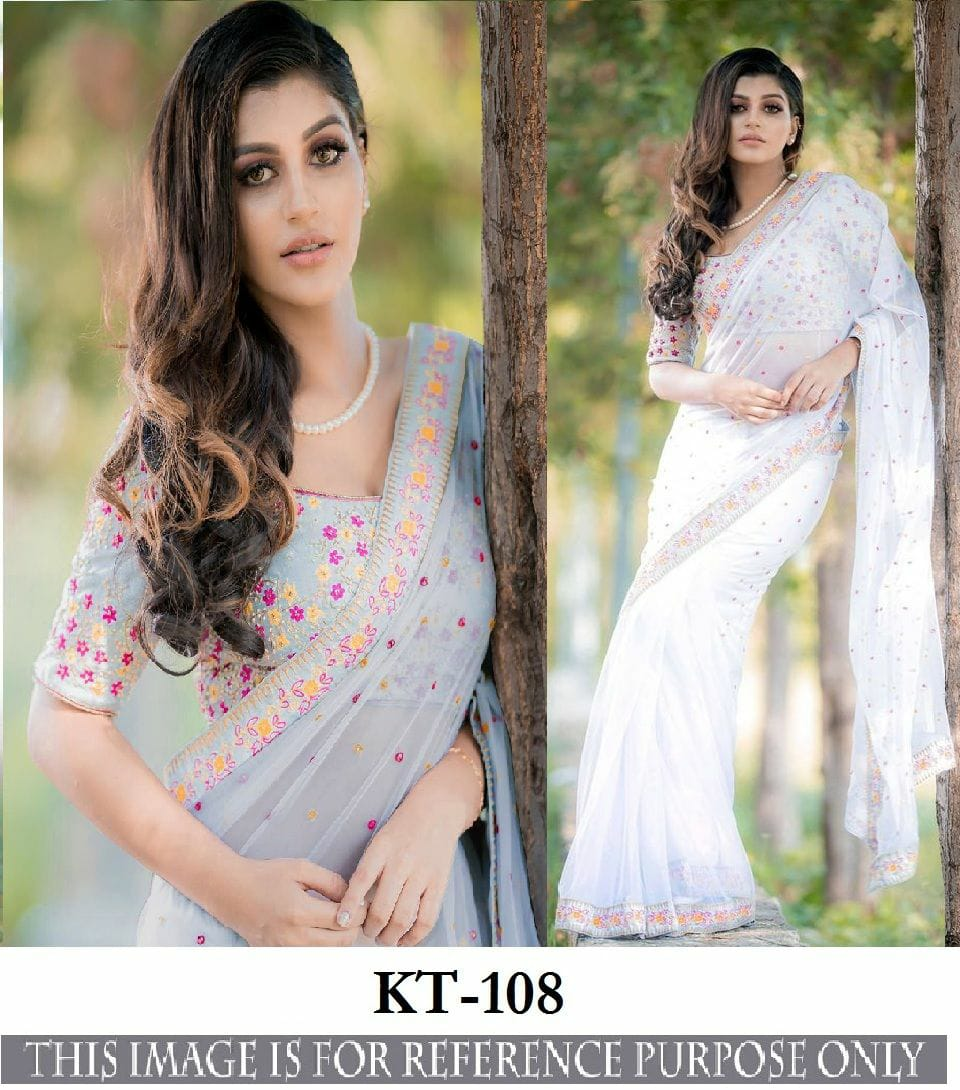Kt 108 Georgette With Embroidery Work Saree At Wholesale Rate
