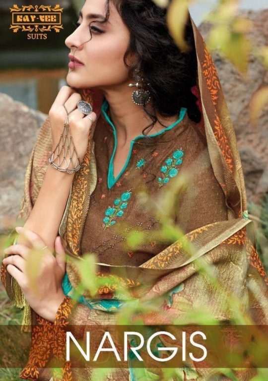 Kay Vee Suits Nargees Pure Pashmina Print With Fancy Self Embroidery Work Dress Material At Wholesale Rate
