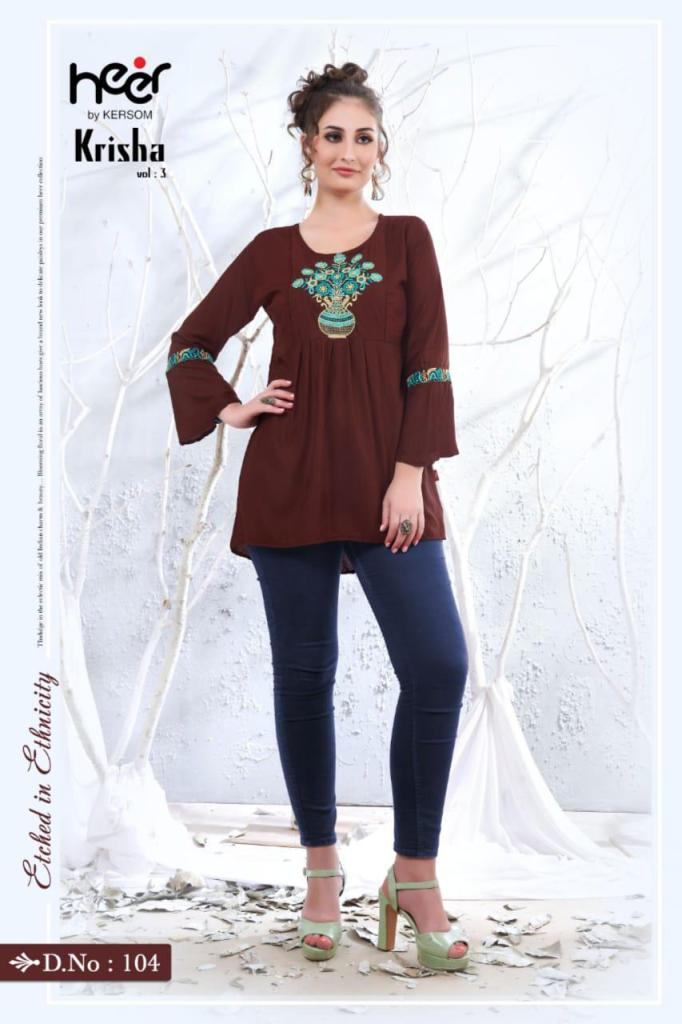 Kersom Heer Krisha Vol 2 Heavy Rayon With Work Readymade Short Kurti Tops At Wholesale Rate