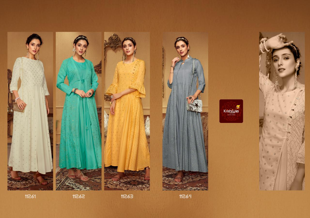 Krishriyaa Fashions Paisley Soft Mal Cotton With Embroidery Work Readymade Long Flair Kurtis Collection At Wholesale Rate