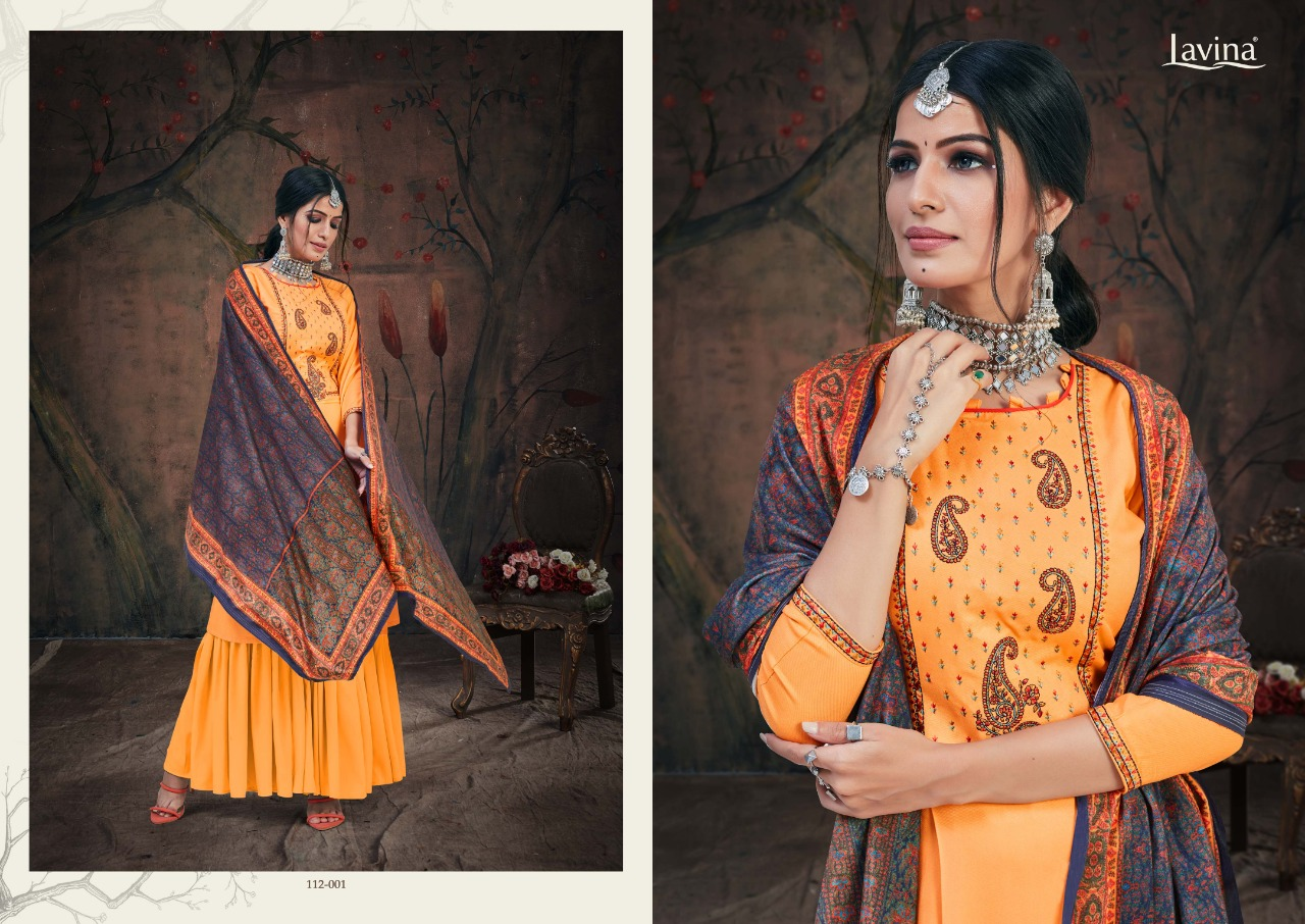 Lavina Vol 112 Pure Pashmina With Embroidery Work Dress Material At Wholesale Rate
