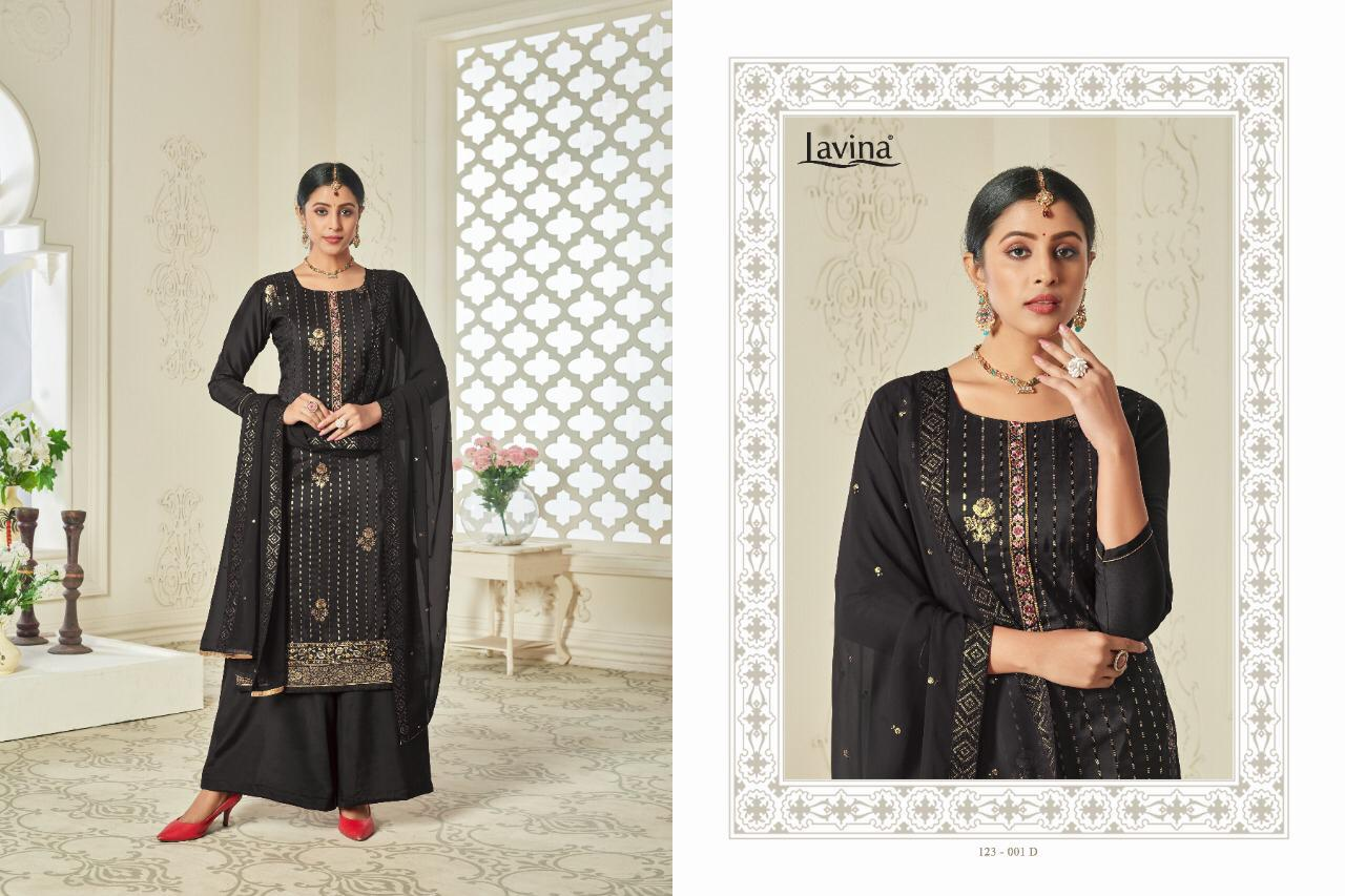 Lavina Vol 123 Chinon With Embroidery Work Dress Material Collection At Wholesale Rate