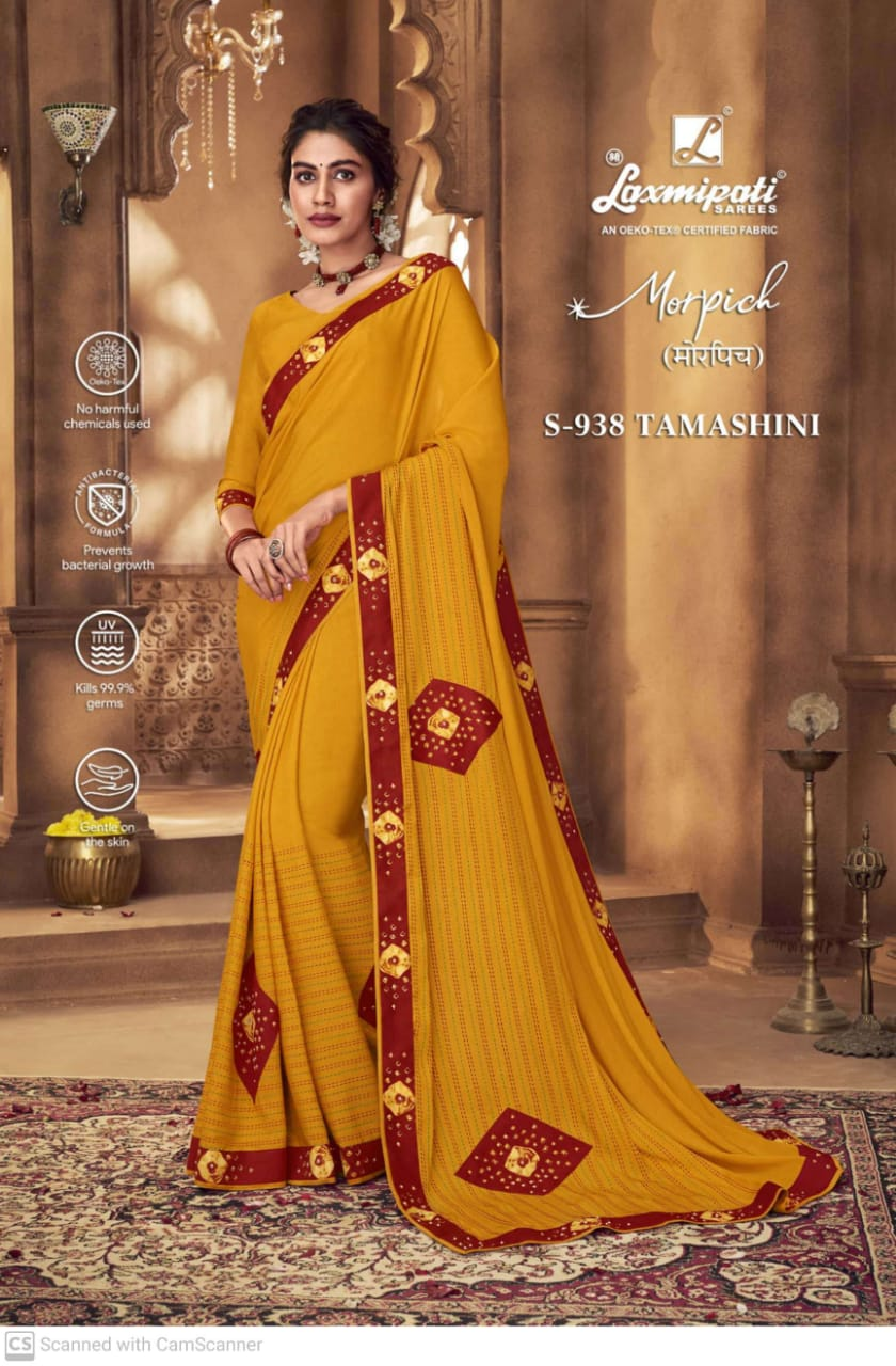 Laxmipati Morpich Fancy Embroidery Work Party Wear Sarees Collection At Wholesale Rate