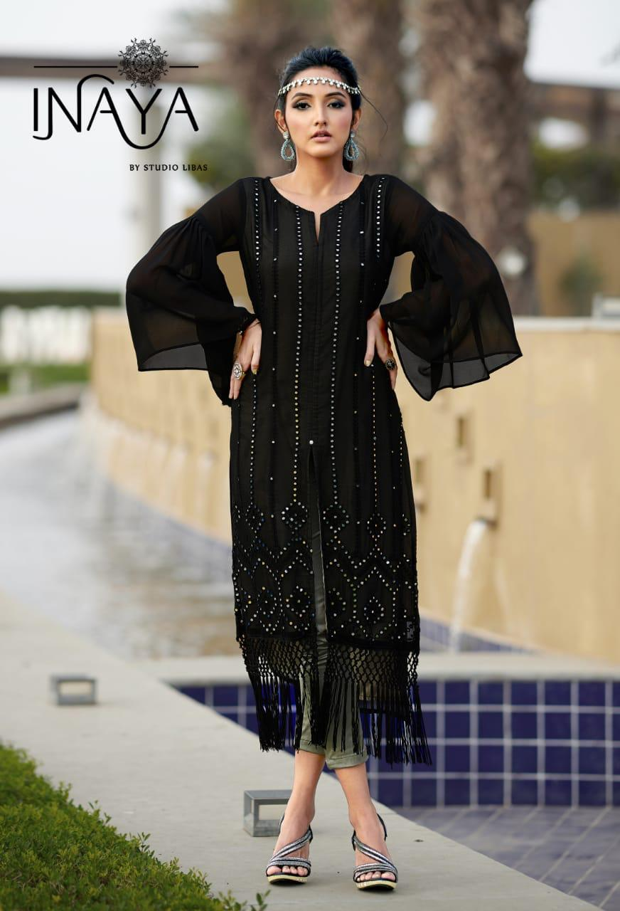 Inaya Studio Libas Lpc 58 Designer Pure Georgette With Heavy Embroidery Work Readymade Kurtis With Pants At Wholesale Rate