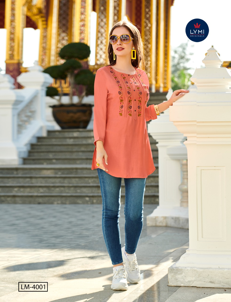 Kessi Fabrics Lymi Canon Viscose Moss With Embroidery Work Readymade Short Kurti Tops At Wholesale Rate