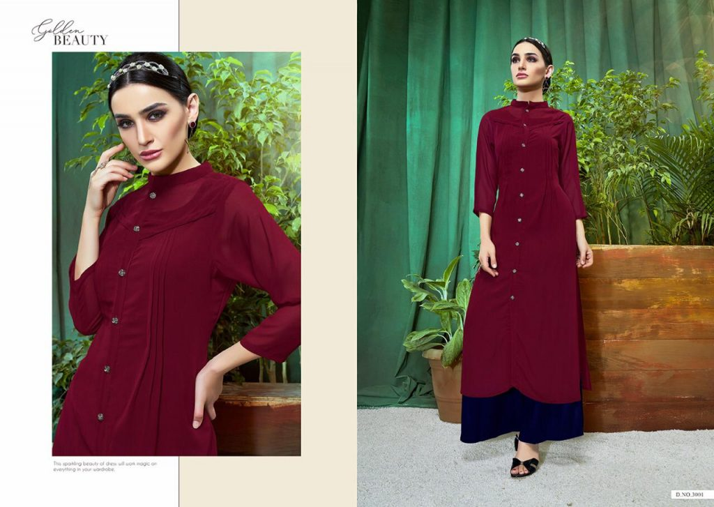S-more Fashion Laser Vol 3 Readymade Georgette Kurtis With Rayon Inner At Wholesale Rate