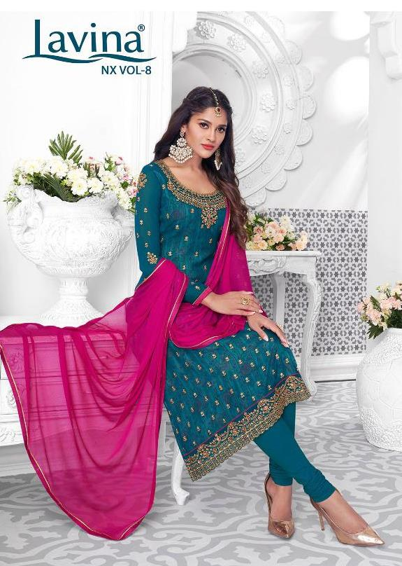 Lavina Nx Vol 8 Georgette With Embroidery Work Dress Material Collection At Wholesale Rate
