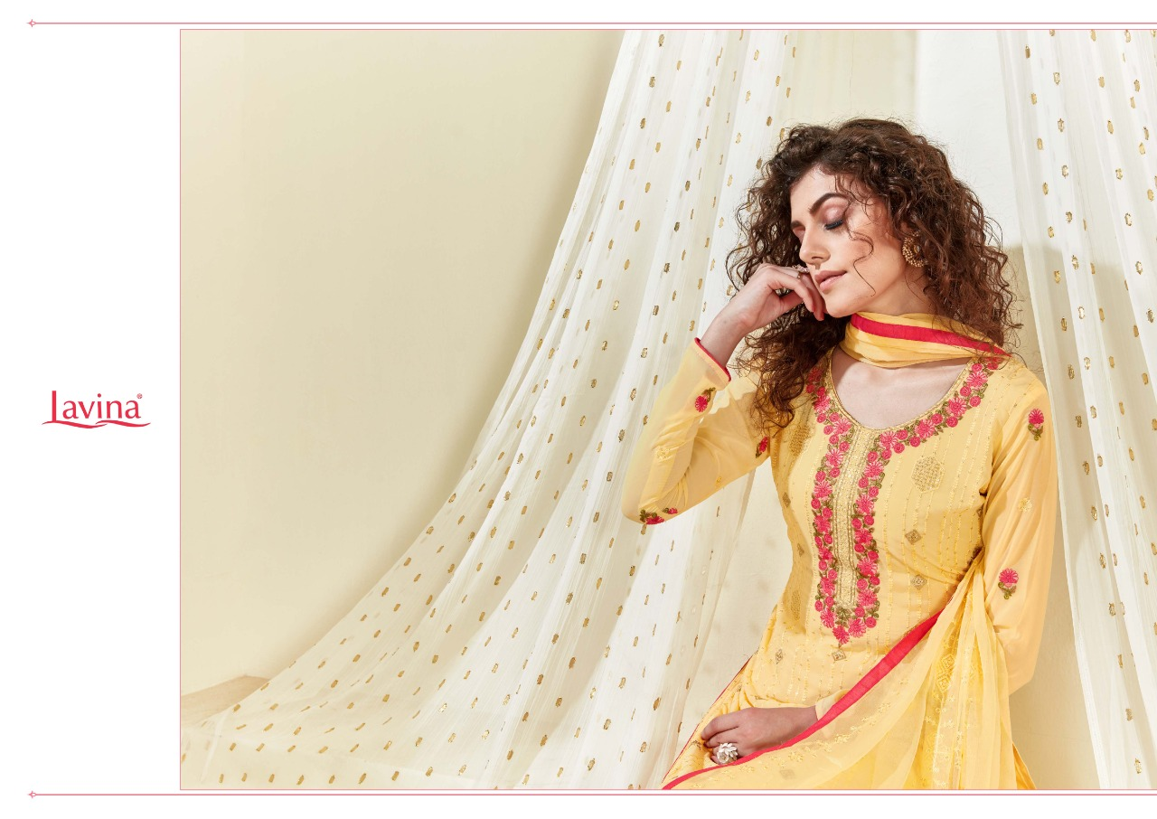Lavina Vol 43 Georgette With Heavy Embroidery Work Dress Material Collection At Wholesale Rate