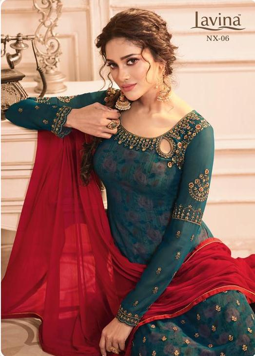Lavina Nx Vol 6 Printed Georgette With Heavy Embroidery Work Dress Material Collection Surat