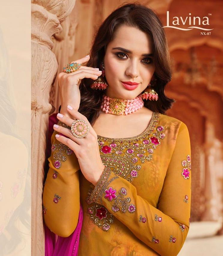 Lavina Suits Nx 7 Georgette With Embroidery Work Party Wear Dress Material At Wholesale Rate