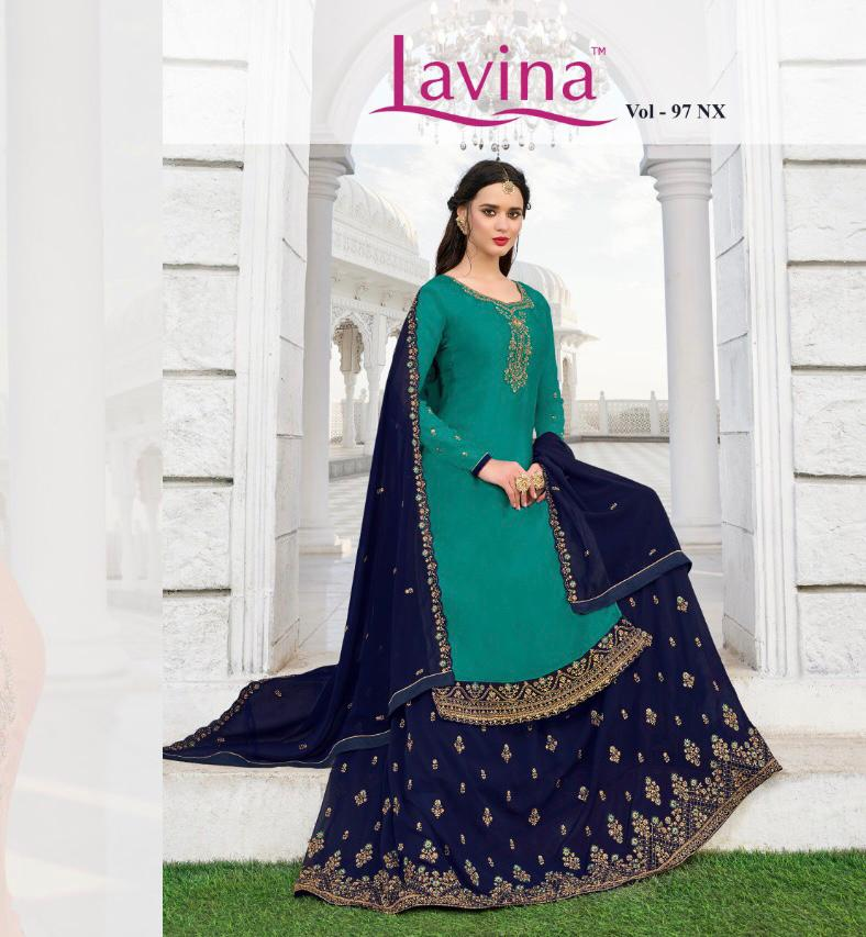 Lavina Suits Lavina 97 Nx Satin Georgette With Embroidery Work Party Wear Dress Material At Wholesale Rate