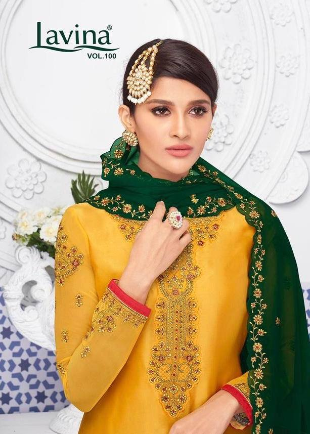 Lavina Suits Lavina Vol 100 Satin Georgette With Embroidery Work Dress Material At Wholesale Rate