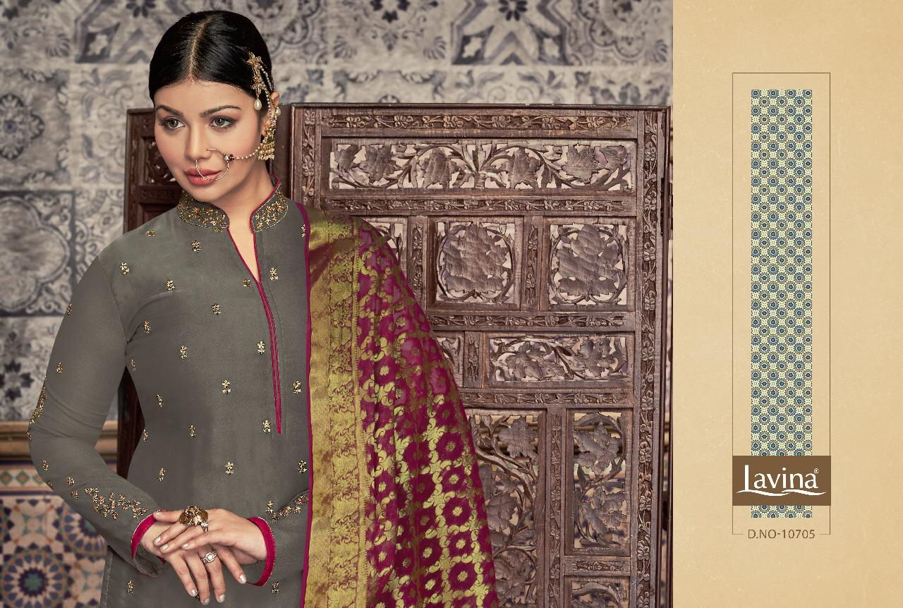 Lavina Suits Lavina Vol 107 Satin Georgette With Embroidery Work Dress Material At Wholesale Rate