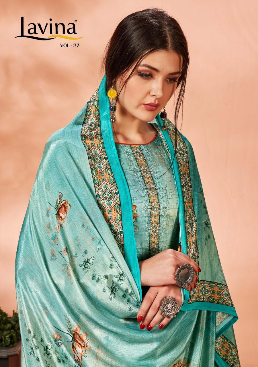 Lavina Suits Lavina Vol 27 Jam Satin Digital Printed With Embroidery Work Dress Material At Wholesale Rate