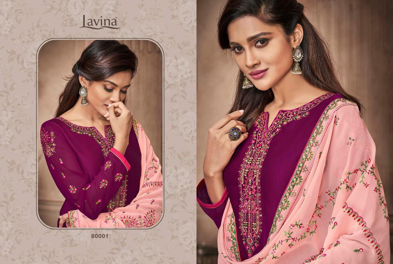 Lavina Suits Lavina Vol 80 Satin Georgette With Embroidery Work Dress Material At Wholesale Rate