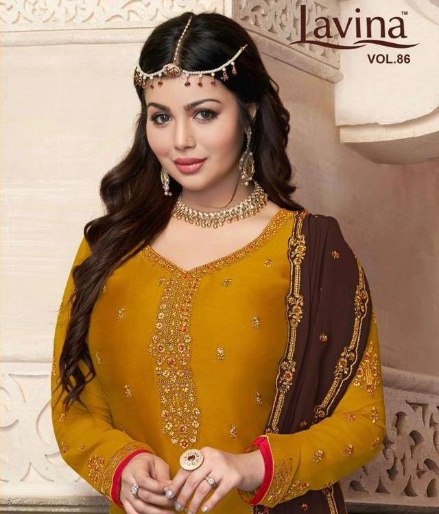Lavina Suits Lavina Vol 86 Satin Georgette With Heavy Embroidery Work Dress Material At Wholesale Rate
