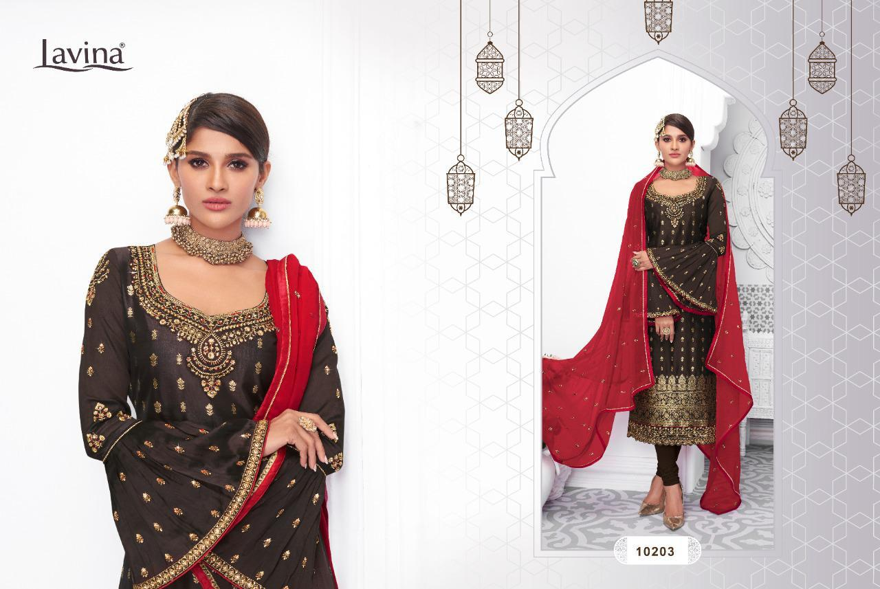 Lavina Vol 102 Pure Dola Silk With Embroidery Work Dress Material Collection At Wholesale Rate